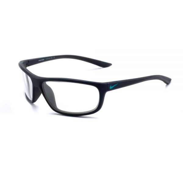 Nike Rabid M 233 Radiation Glasses in Matte Sequoia/Green Frame, Angled to the Side Left