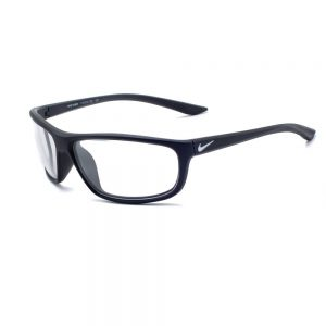 Nike Rabid P Radiation Glasses 001 in Matte Black Frame, Angled to the Side Left
