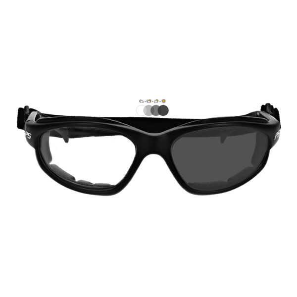 Photochromic Safety Glasses in Black Frame with Transition Lens, Angled to the Front