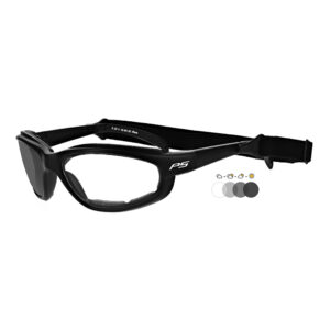 Photochromic Safety Glasses in Black Frame with Transition Lens, Angled to the Side Left