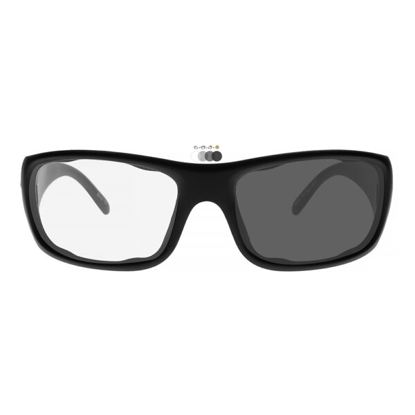Photochromic Safety Glasses P820 in Black Frame with Transition Lenses, Angled to the Front