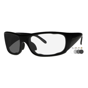 Photochromic Safety Glasses P820 in Black Frame with Transition Lenses, Angled to the Side Left