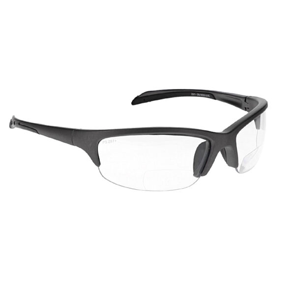 SB-5000 Bifocal Safety Glasses in Black with Clear Lenses