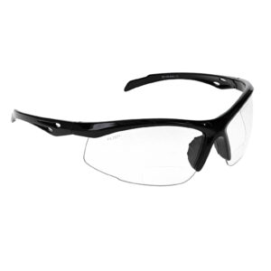 SB-9000 Bifocal Safety Glasses in Black with Clear Lenses