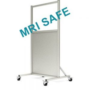 MRI-Safe Mobile Leaded Aluminum Barrier with Window, LB-2430-MRI