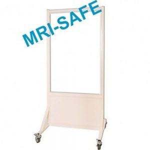 MRI-Safe Mobile Leaded Aluminum Barrier with Window, LB-3048-MRI