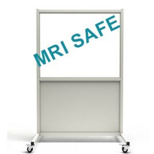 MRI-Safe Mobile Leaded Aluminum Barrier with Window, LB-3648-MRI