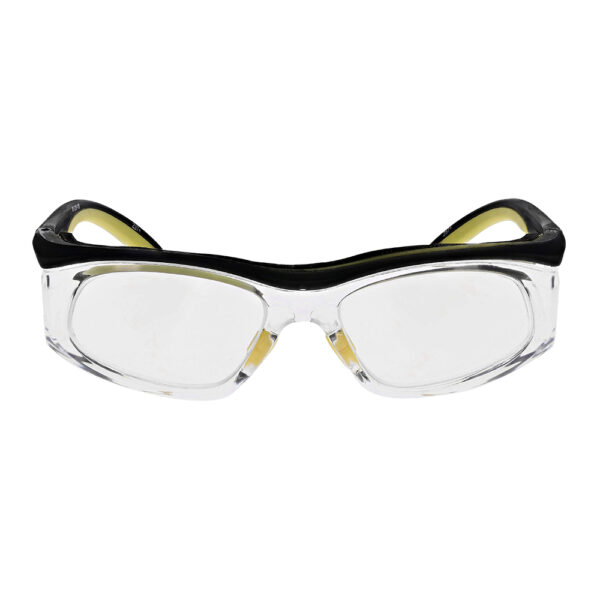 Safety Reading Glasses Model Impact in Black Yellow Frame with Clear Lens, Angled to the Front