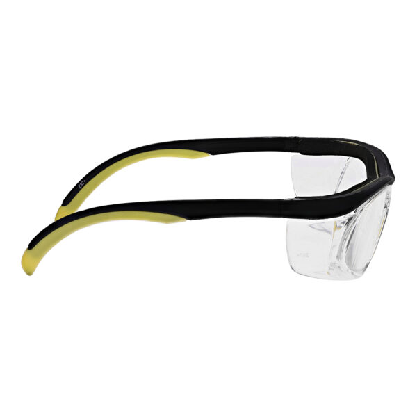 Safety Reading Glasses Model Impact in Black Yellow Frame with Clear Lens, Angled to the Right