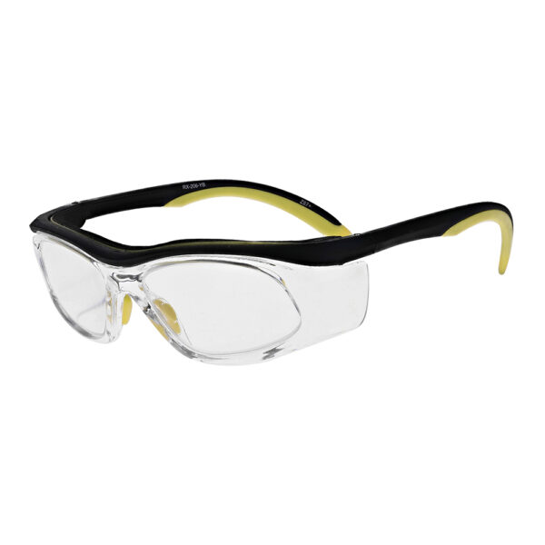 Safety Reading Glasses Model Impact in Black Yellow Frame with Clear Lens, Angled to the Side Left