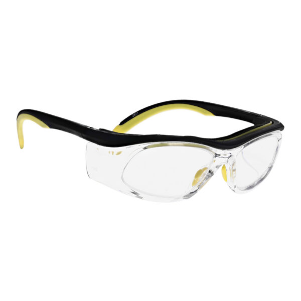 Safety Reading Glasses Model Impact in Black Yellow Frame with Clear Lens, Angled to the Side Right