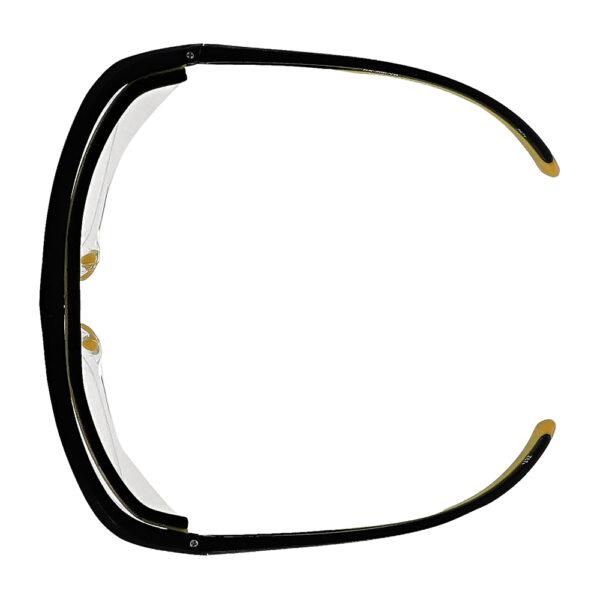 Safety Reading Glasses Model Impact in Black Yellow Frame with Clear Lens, Angled to the Top
