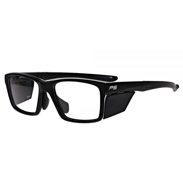 Radiation Protective Eyewear in Model P104 in Black, with Leaded Side Shields, RG-P104-BK-50SS