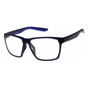 Nike Maverick E Radiation Glasses EV1096-451 in Matte Obsidian and/ Space Blue , Angled to the Side Left