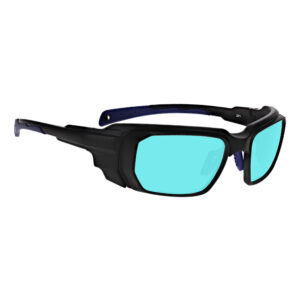 Model 16001 Alexandrite/Diode High Light Transmission in Black and Blue Frame, Angled to the Side Right