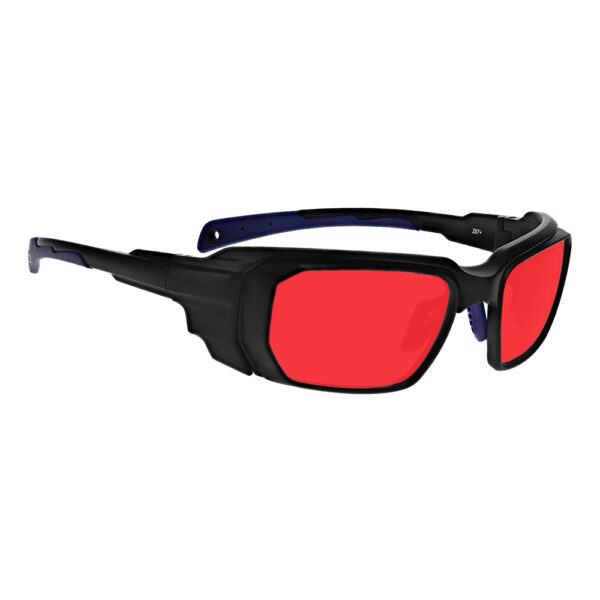 Model 16001 Argon Alignment 3 in Black and Blue Frame, Angled to the Side Right
