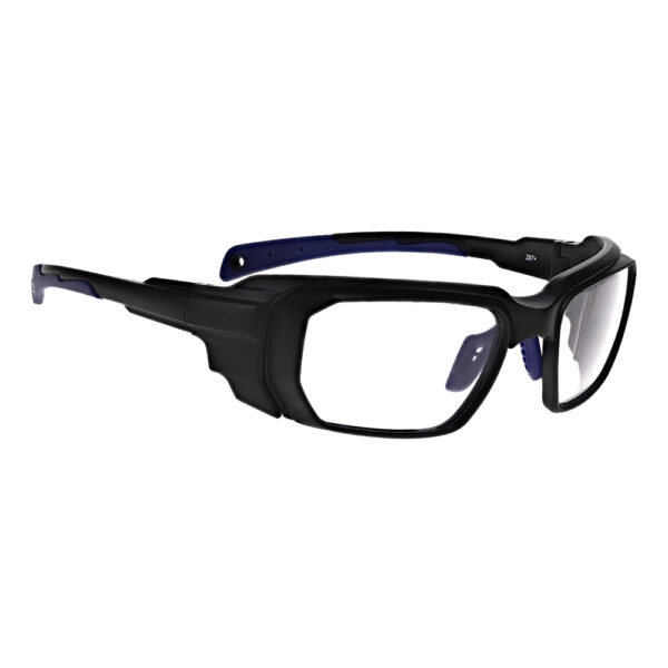 Model 16001 Co2/Erbium in Black and Blue Frame, Angled to the Side Right