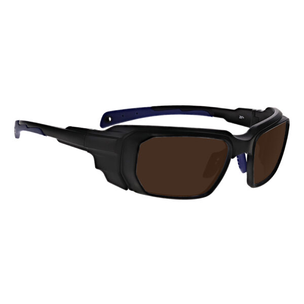 Model 16001 DH83 Laser Safety Filter in Black and Blue Frame, Angled to the Side Right