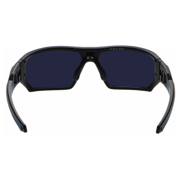 Model Q368 BoroTruView 3.0 Glassworking Safety Glasses in Black Blue Frame, Angled to the Rear