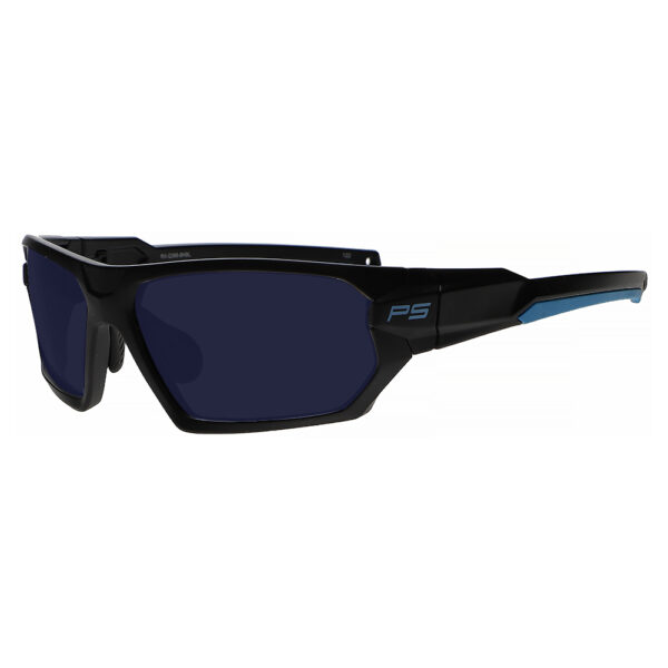 Model Q368 BoroTruView 3.0 Glassworking Safety Glasses in Black Blue Frame, Angled to the Side Left