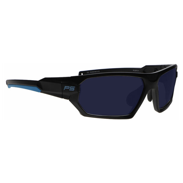 Model Q368 BoroTruView 3.0 Glassworking Safety Glasses in Black Blue Frame, Angled to the Side Right