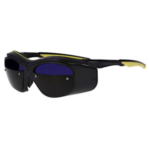 F10 Glassworking Split Lens Safety in a Black and Yellow Frame, Angled to the Side Left