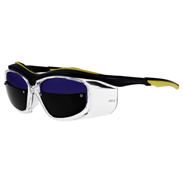 F10-CLR Glassworking Split Lens Safety in a Clear Frame, Angled to the Side Left