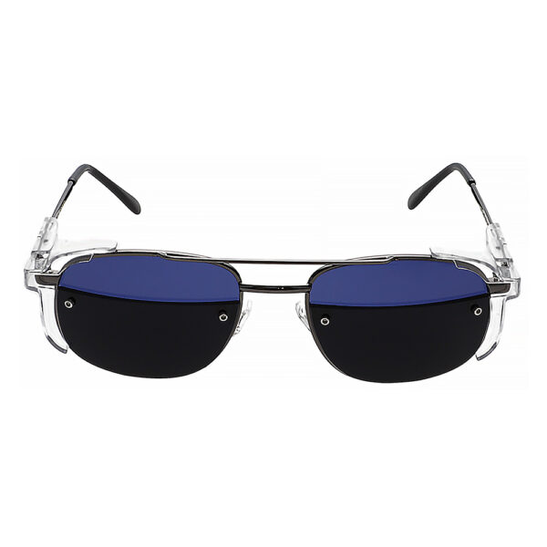 Glassworking Split Lens Model 202 Metal Safety Glasses, Angled to the Front