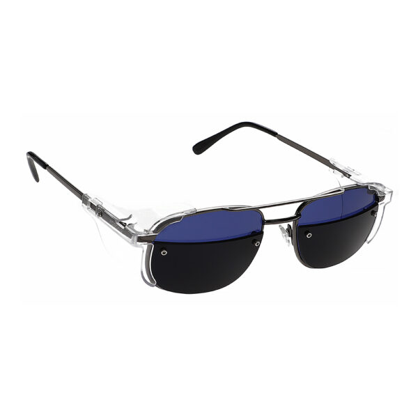 Glassworking Split Lens Model 202 Metal Safety Glasses, Angled to the Side Right