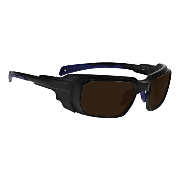 Model 16001 IPL Brown Contrast Enhancement in Black and Blue Frame, Angled to the Side Right