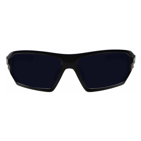 Model Q368 Glassworking Safety Glasses BoroTruView 5.0 in Black and Blue Frame, Angled to the Front