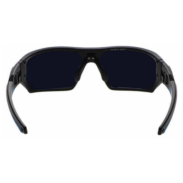 Model Q368 Glassworking Safety Glasses BoroTruView 5.0 in Black and Blue Frame, Angled to the Rear