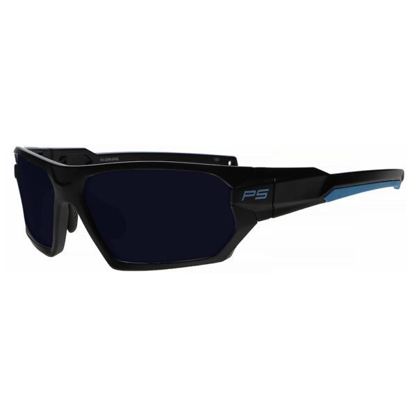 Model Q368 Glassworking Safety Glasses BoroTruView 5.0 in Black and Blue Frame, Angled to the Side Left