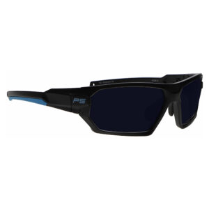Model Q368 Glassworking Safety Glasses BoroTruView 5.0 in Black and Blue Frame, Angled to the Side Right