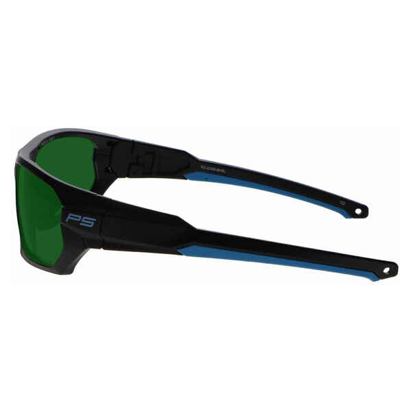Model Q368 Glassworking Safety Glasses BoroView 3.0 in Black and Blue Frame, Angled to the Left