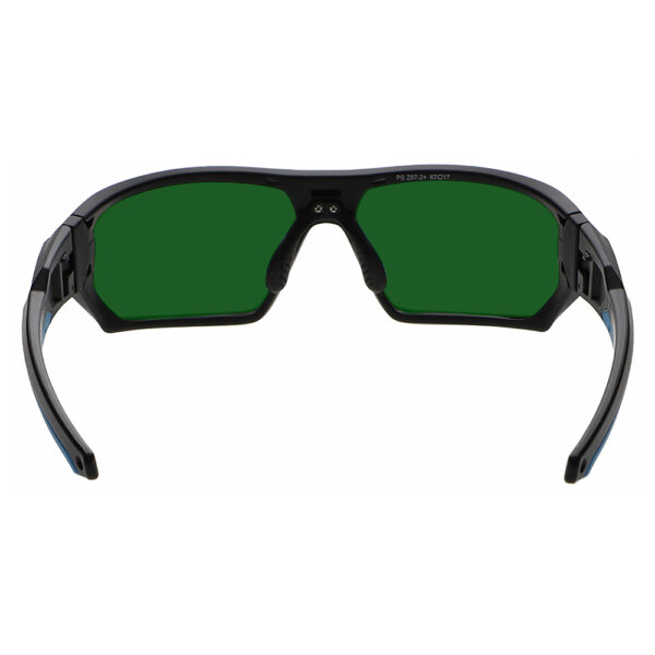 Model Q368 Glassworking Safety Glasses BoroView 3.0 in Black and Blue Frame, Angled to the Rear