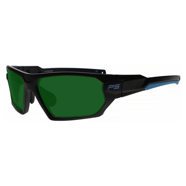 Model Q368 Glassworking Safety Glasses BoroView 3.0 in Black and Blue Frame, Angled to the Side Left