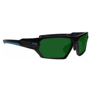 Model Q368 Glassworking Safety Glasses BoroView 3.0 in Black and Blue Frame, Angled to the Side Right