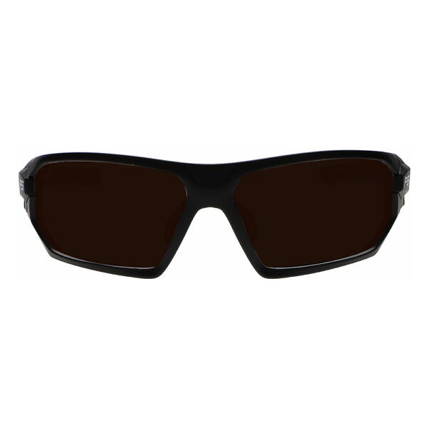 Model Q368 Glassworking Safety Glasses BoroView 5.0 in Black and Blue Frame, Angled to the Front