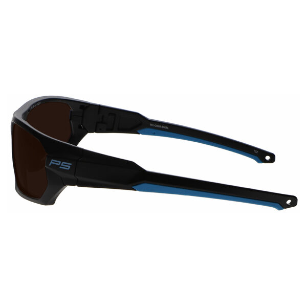 Model Q368 Glassworking Safety Glasses BoroView 5.0 in Black and Blue Frame, Angled to the Left