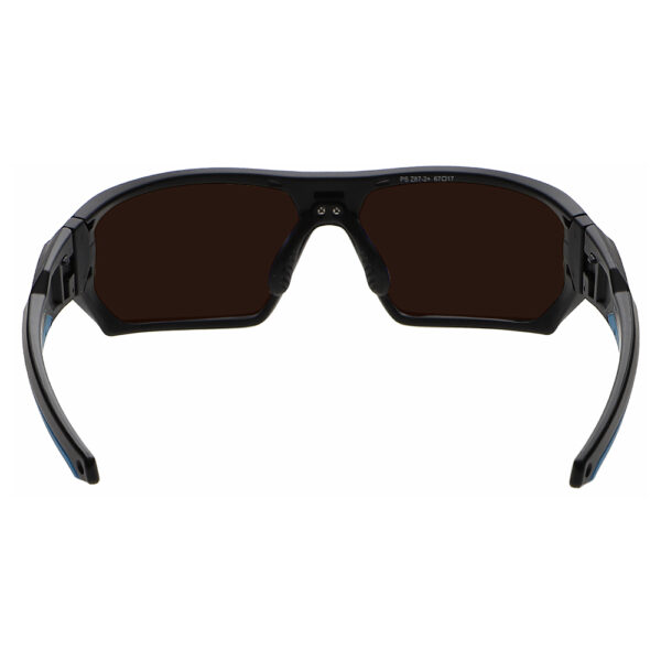 Model Q368 Glassworking Safety Glasses BoroView 5.0 in Black and Blue Frame, Angled to the Rear