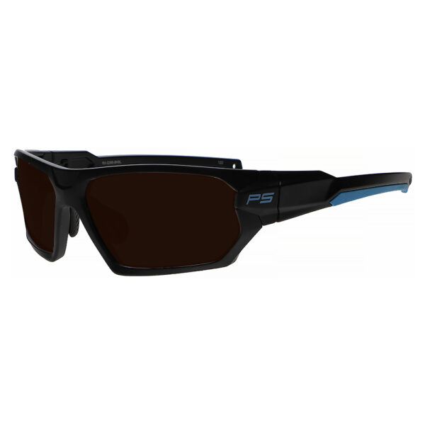 Model Q368 Glassworking Safety Glasses BoroView 5.0 in Black and Blue Frame, Angled to the Side Left