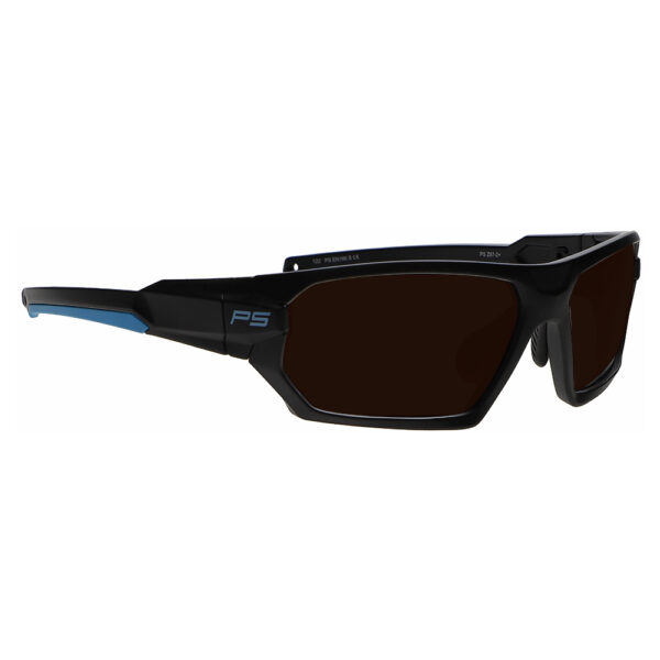 Model Q368 Glassworking Safety Glasses BoroView 5.0 in Black and Blue Frame, Angled to the Side Right