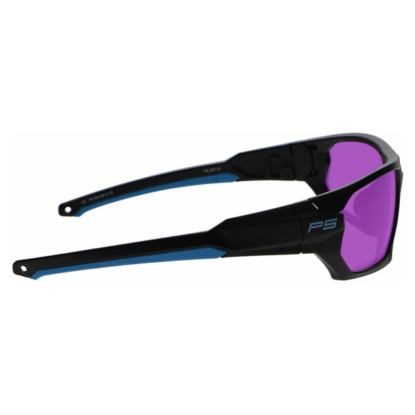 Model Q368 Glassworking Safety Glasses Phillips 202 in Black and Blue Frame, Angled Right