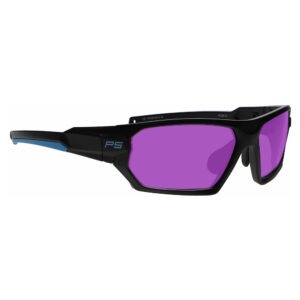 Model Q368 Glassworking Safety Glasses Phillips 202 in Black and Blue Frame, Angled Side Right