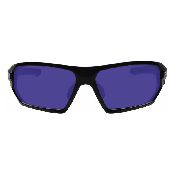 Model Q368 Glassworking Safety Glasses Sodium Flare Polycarbonate in Black and Blue Frame, Angled to the Front