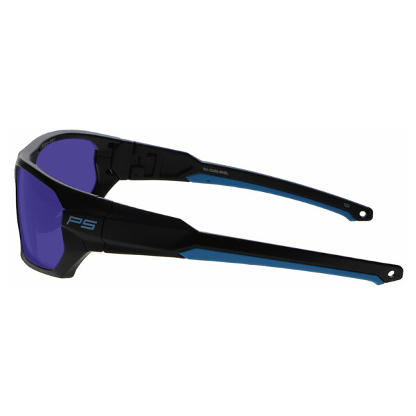 Model Q368 Glassworking Safety Glasses Sodium Flare Polycarbonate in Black and Blue Frame, Angled to the Right