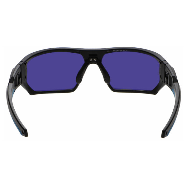 Model Q368 Glassworking Safety Glasses Sodium Flare Polycarbonate in Black and Blue Frame, Angled to the Rear