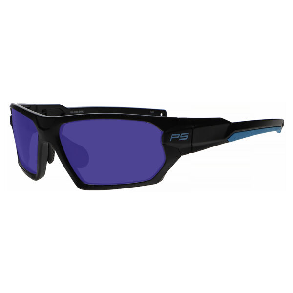 Model Q368 Glassworking Safety Glasses Sodium Flare Polycarbonate in Black and Blue Frame, Angled to the Side Left