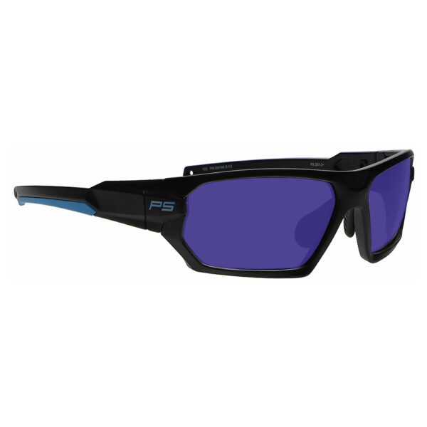 Model Q368 Glassworking Safety Glasses Sodium Flare Polycarbonate in Black and Blue Frame, Angled to the Side Right